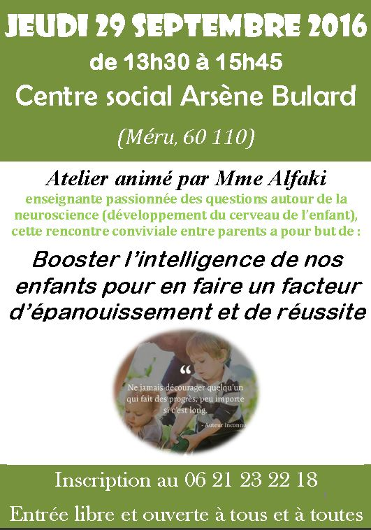 les intelligences multiples ou comment booster l'intelligence de nos enfants : atelier de 13h30 à 15h45