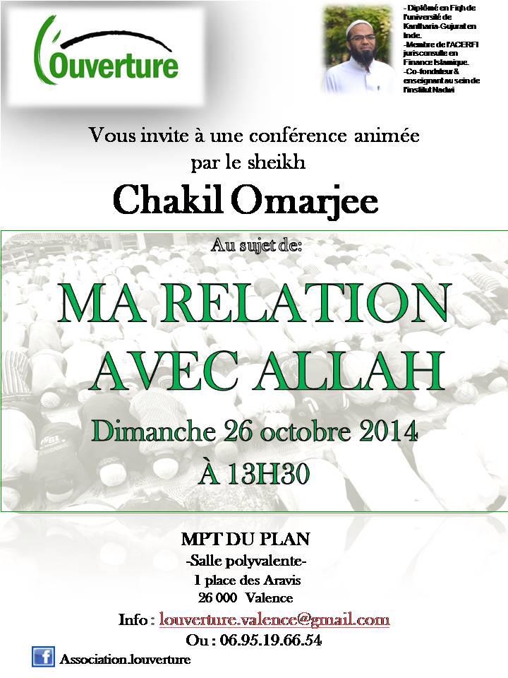 MA RELATION AVEC ALLAH - CHEIKH CHAKIL OMARJEE - DIMANCHE 26 OCTOBRE 2014