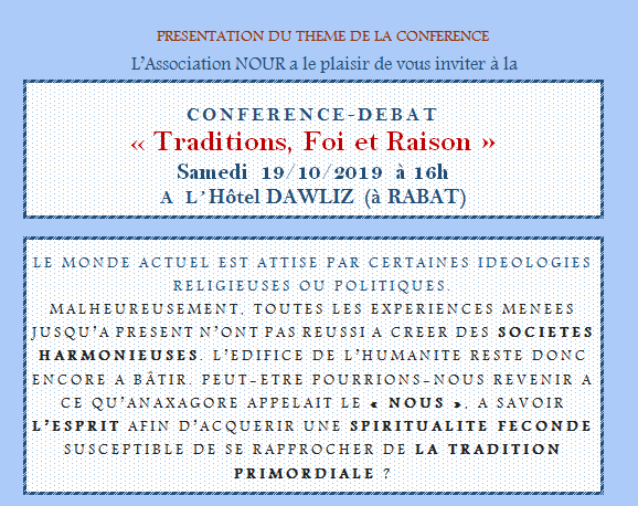 CONFERENCE-DEBAT « Traditions, Foi et Raison »