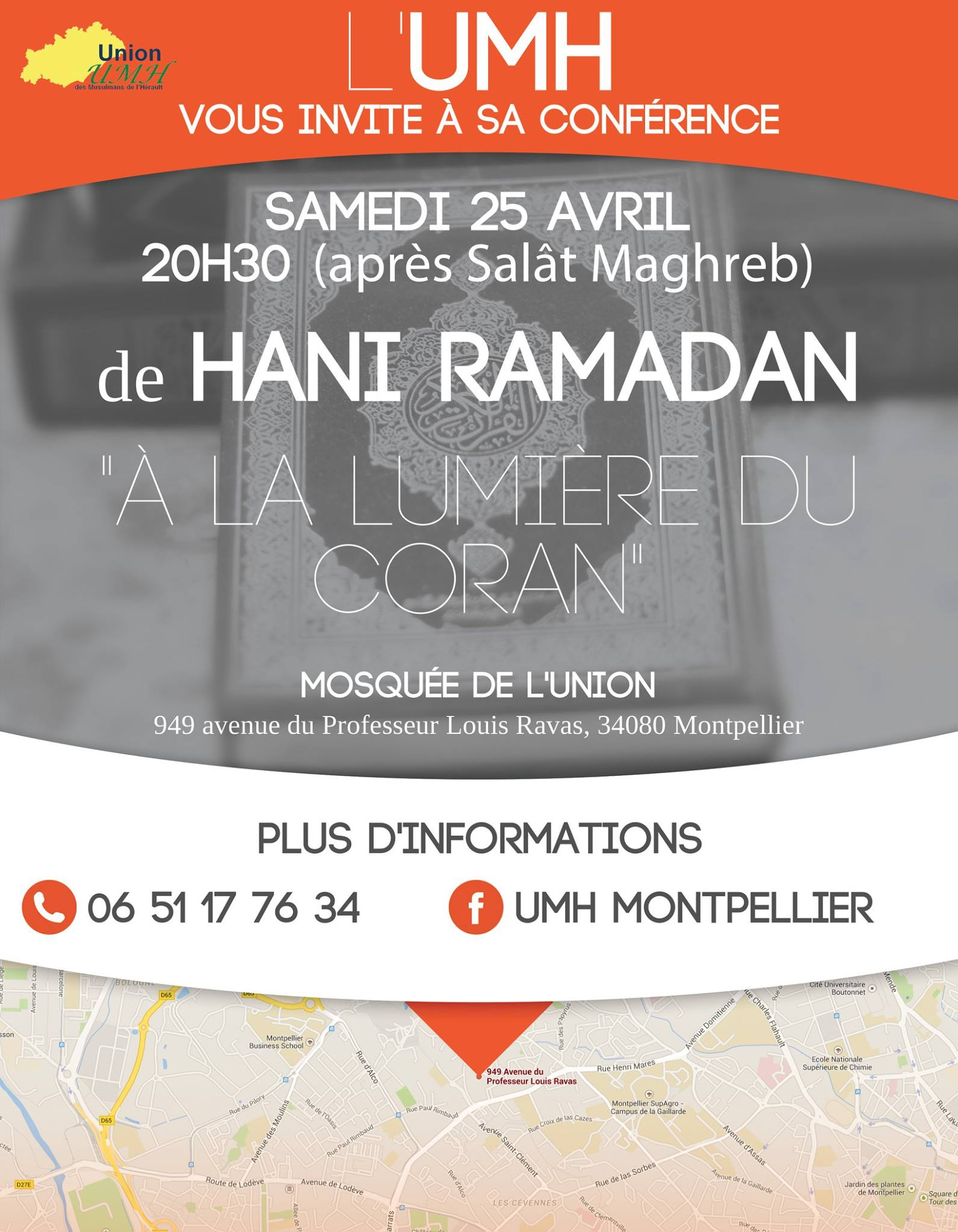 conf rence de dr hani ramadan montpellier 949 avenue du professeur louis ravas mosqu e de. Black Bedroom Furniture Sets. Home Design Ideas