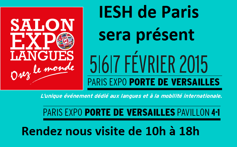 Iesh de paris participe au salon expolangues 1 place de for Salon porte de versailles 30 mai 2015