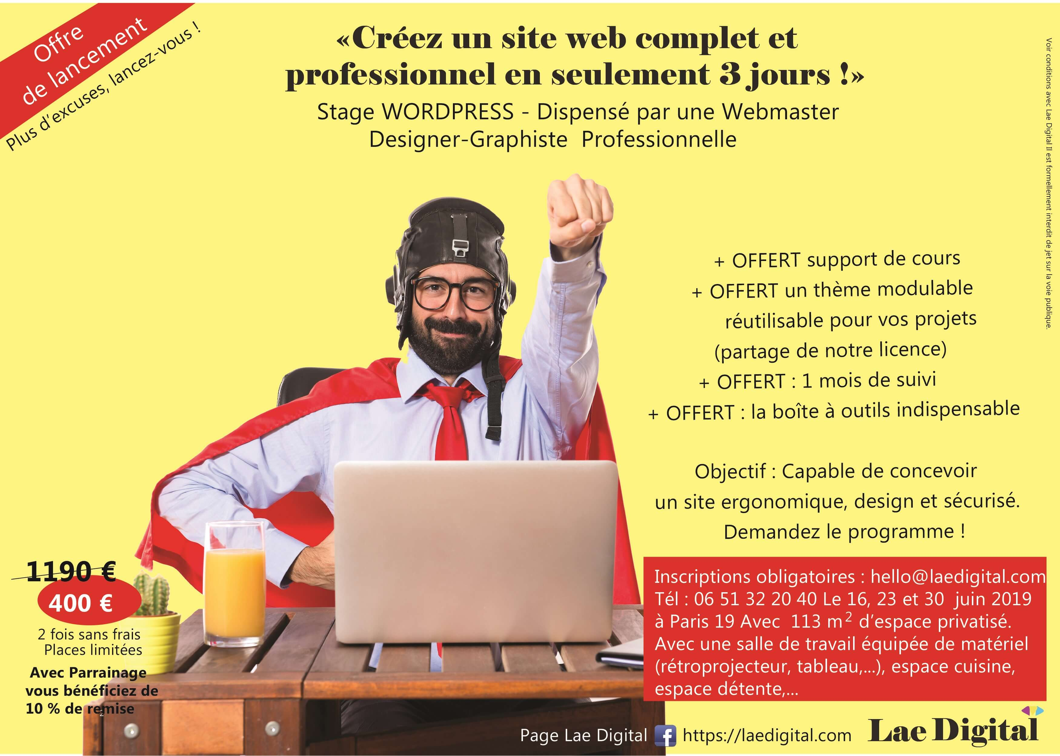 Stage WordPresse Atelier de Formation WordPress Créez un site professionnel